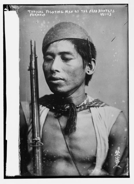 Typical fighting man of the head hunters, Formosa