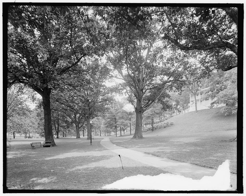 [Under the spreading oaks, White Sulphur Springs, West Va.]