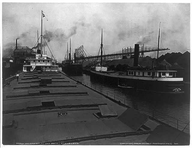 [Unloading at ore docks, Cleveland]