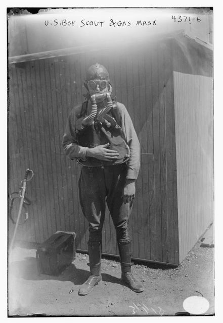 U.S. Boy Scout & gas mask
