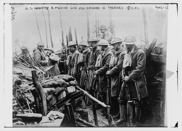 U.S. infantry & machine gun men assigned in trenches