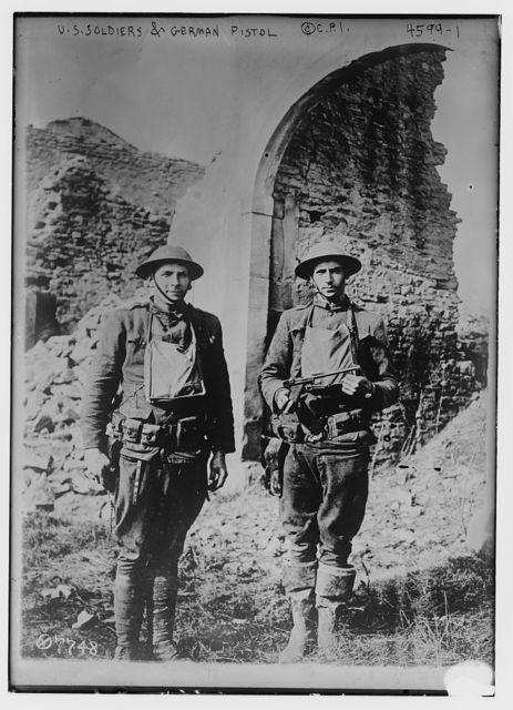 U.S. soldiers & German pistol