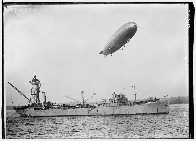 U.S.S. PATOKA & SHENANDOAH (blimp overhead)