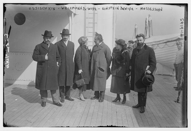 Ussischkin, Weizmann & wife, Einstein & wife & Mossessohn