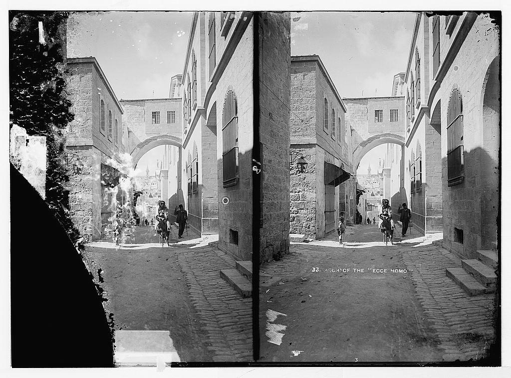 Via Dolorosa, beginning at St. Stephen's Gate. Ecce Homo Arch.