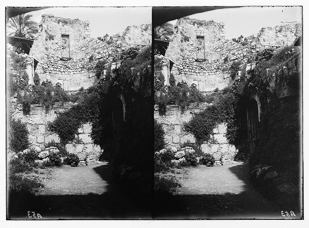 Via Dolorosa, beginning at St. Stephen's Gate. Remains of Crusader church.