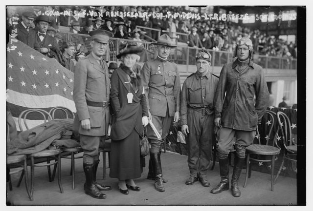 W. Camp, Mrs. C. Van Rensselaer, Col. F.M. Davis, Lt. R. Breeze, Sgt. Coombs