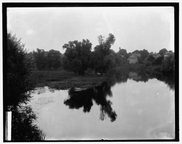 [Waterscape with dwellings at right, probably the Huron River at Ypsilanti, Mich.]