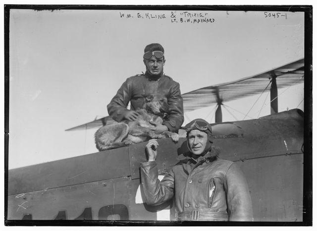 """W.E. Kline, """"Trixie"""" (dog) & Lt. B.W. Maynard"""