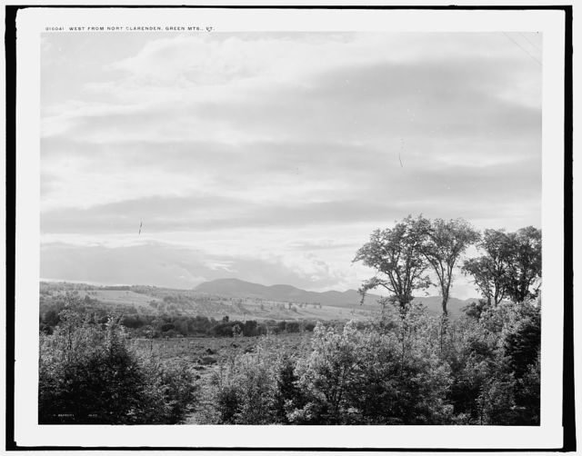 West from Nort[h] Clarenden [i.e. Clarendon], Green Mts., Vt.