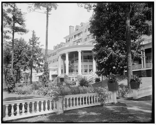 West front and flower garden, Hotel Aspinwall, Lenox, Mass.