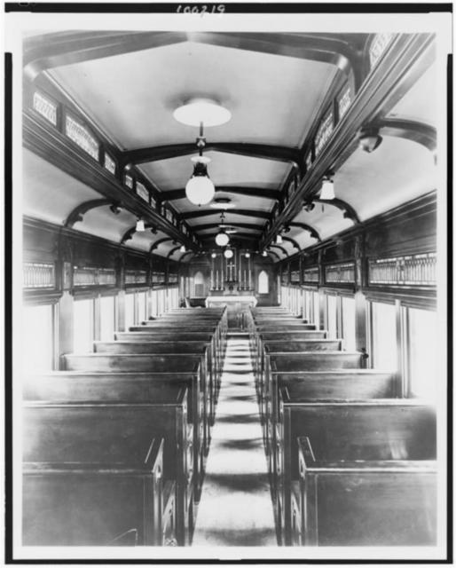 """Wheeled cathedral"" pays a visit. The interior of the chapel car ""St. Paul"" which is being exhibited here ... / photo by F.P. Burke, Chicago."