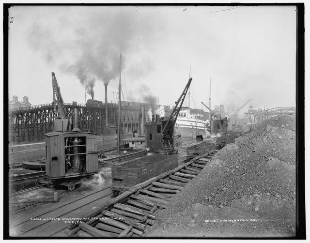 Whirleys unloading ore, Penna. R.R. [Pennsylvania Railroad] docks, Erie, Pa.