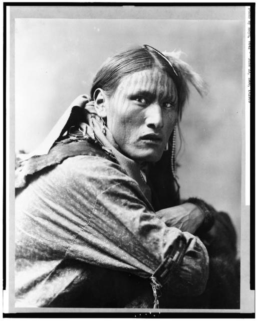 [White Belly, Indian, half-length portrait, facing right]