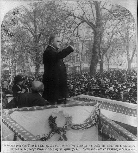 [William McKinley, three-quarters length, speaking, right profile, at Quincy, Ill.]