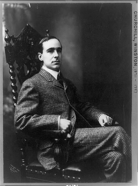 [Winston Churchill, three-quarter length portrait, seated, facing right]