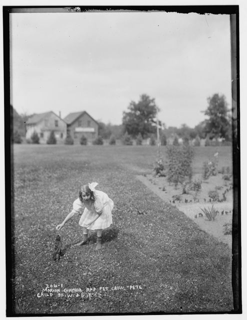 """W.J. Gaynor's daughter, Marion Gaynor, and her pet crow, """"Pete"""""""