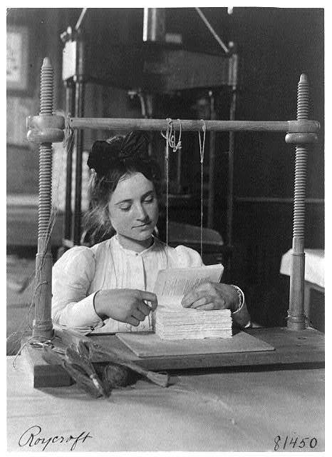 [Woman doing bookbinding at Roycroft Shops, E. Aurora, N.Y.]