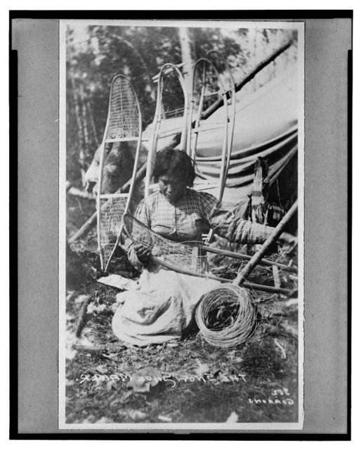 Woman making snow shoes