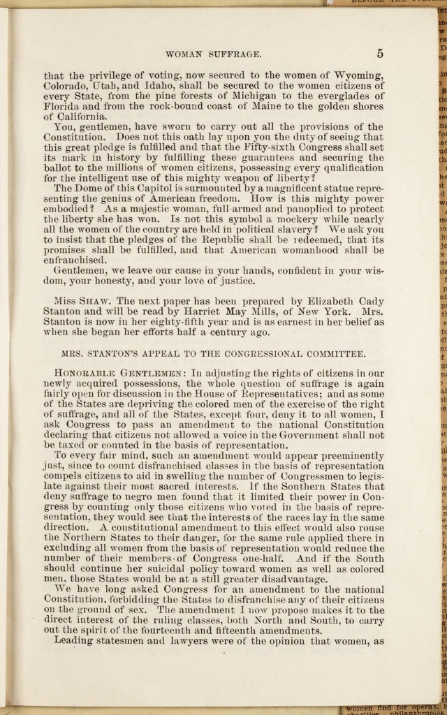 Woman Suffrage Hearing before the Committee on Judiciary on the House of Representatives