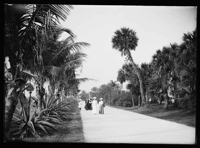 [Women on walk, probably Palm Beach, Fla.]