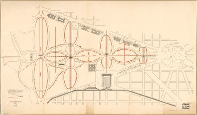 Working plan showing approximate grades and drains for the treatment of that section of the District of Columbia situated south of Pennsylvania Avenue and north of B Street South West Washington D.C. /