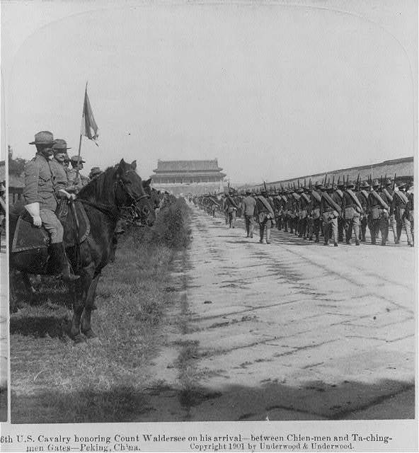 6th U.S. Cavalry honoring Count Waldersee on his arrival--between Chien-men and Ta-ching-men Gates--Peking, China