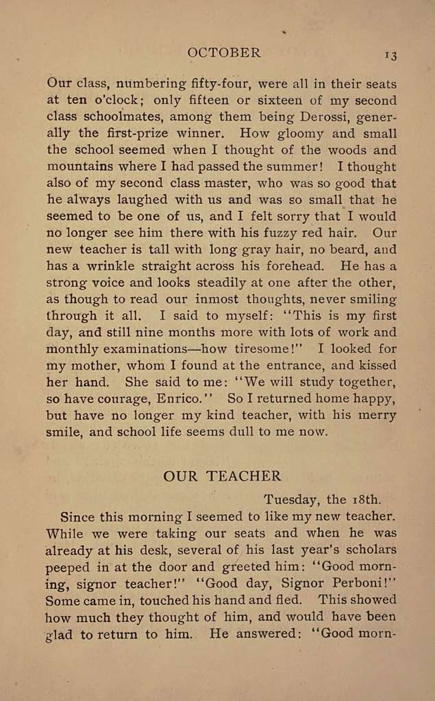 A boy's life at school (Cuore); the diary of a school boy