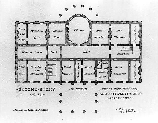 [Alterations to the Executive Mansion, for Mrs. Benjamin Harrison, Pennsylvania Avenue, N.W., Washington, D.C. Second story plan, James Hoban's plan] / Fred D. Owen, del.