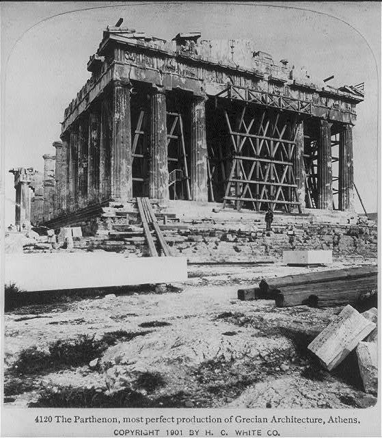 Athens, Greece: The Parthenon, most perfect production of Grecian architecture [showing scaffolding]