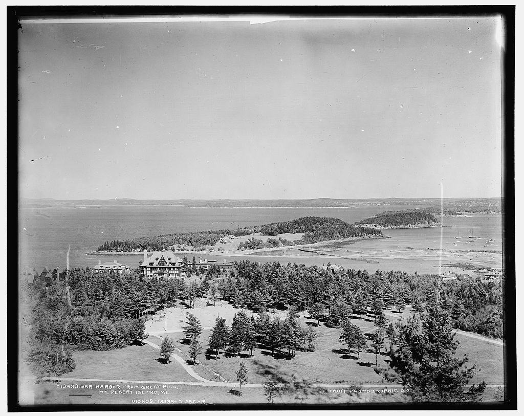 Bar Harbor from Great Hill, Mount Desert Island, Maine