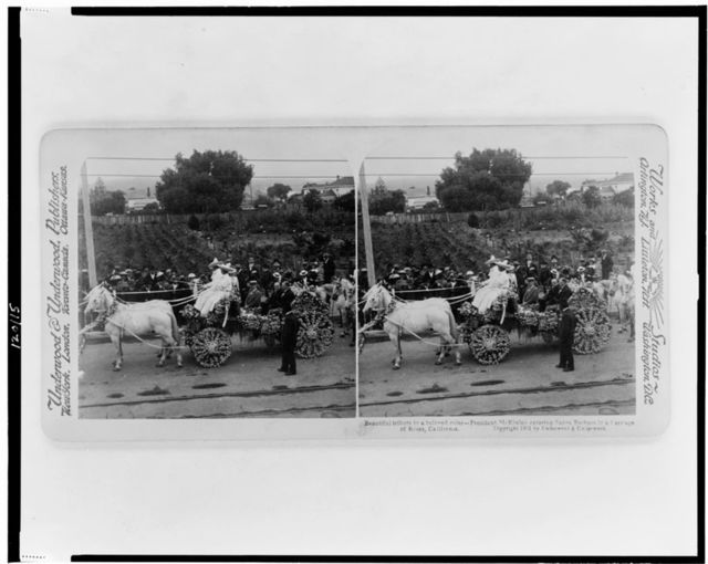 Beautiful tribute to a beloved ruler - President McKinley entering Santa Barbara in a carriage of roses, California