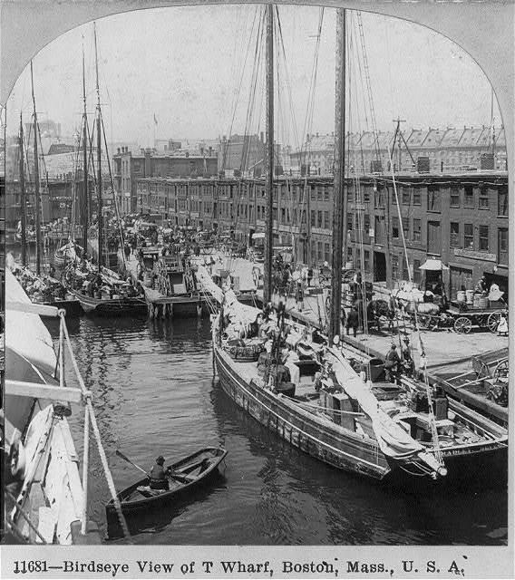 Bird's-eye view of T Wharf, Boston, Mass.