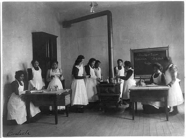 [Breakfast lesson in home economics class for women. Carlisle Indian School, Pa.]