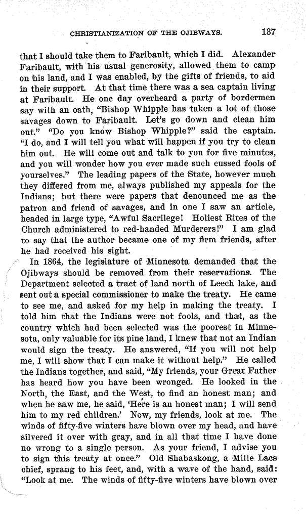 Civilization and Christianization of the Ojibways in Minnesota