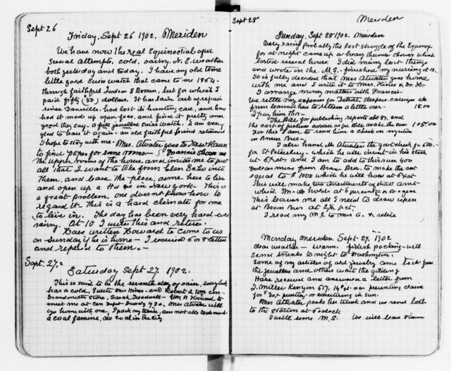 Clara Barton Papers: Diaries and Journals: 1901, Apr.-1902, Dec.