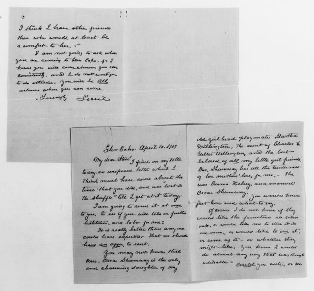 Clara Barton Papers: Family Papers: Barton, Stephen E. (nephew); Correspondence; 1901, Feb.-1928, undated