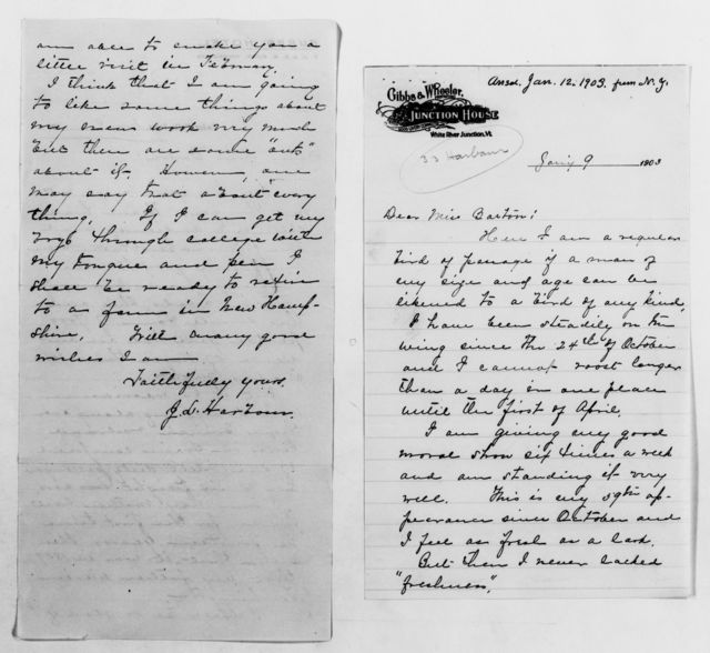 Clara Barton Papers: General Correspondence, 1838-1912; Harbour, J. L., and family, 1901-1911, undated