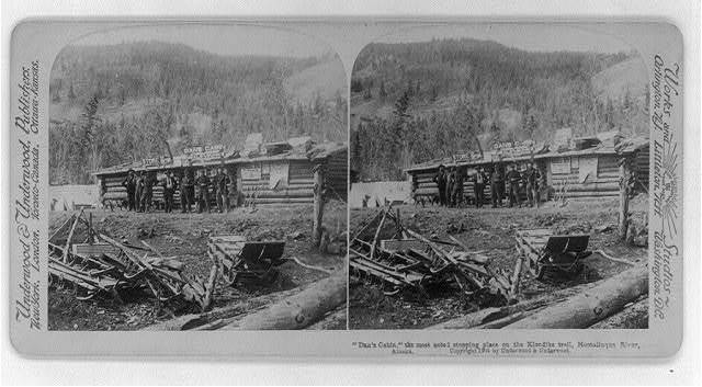"""Dan's Cabin"" the most noted stopping place on the Klondike trail, Hootalinqua River, Alaska"
