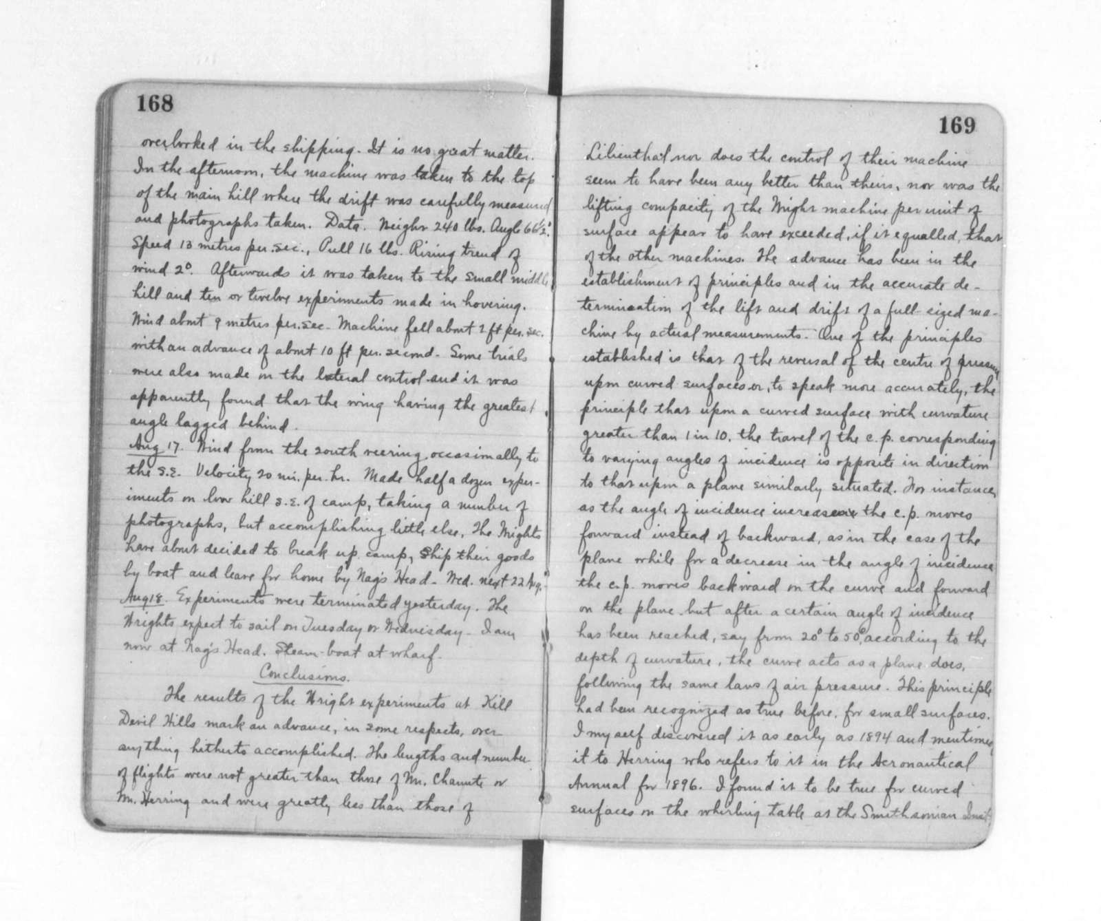 """Diaries and Notebooks:  1901, """"Huffaker's Diary,"""" kept for Orville Wright"""