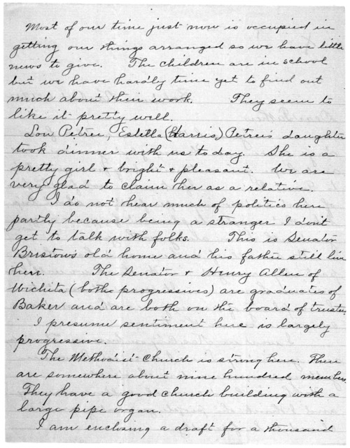 Family Papers:  Correspondence--Wright, Reuchlin, 1901-1902, 1911-1912