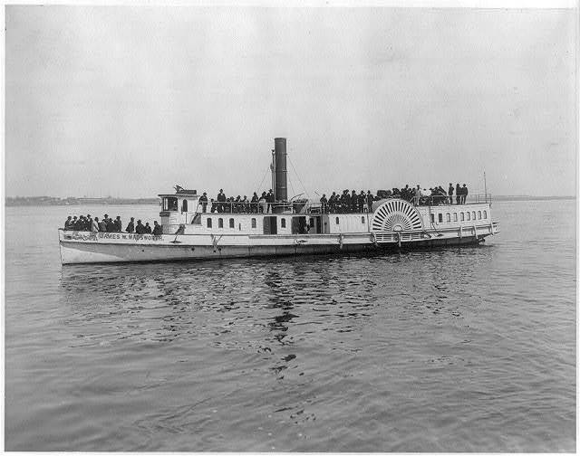 [Full port view of steamboat James W. Wadsworth loaded with passengers]