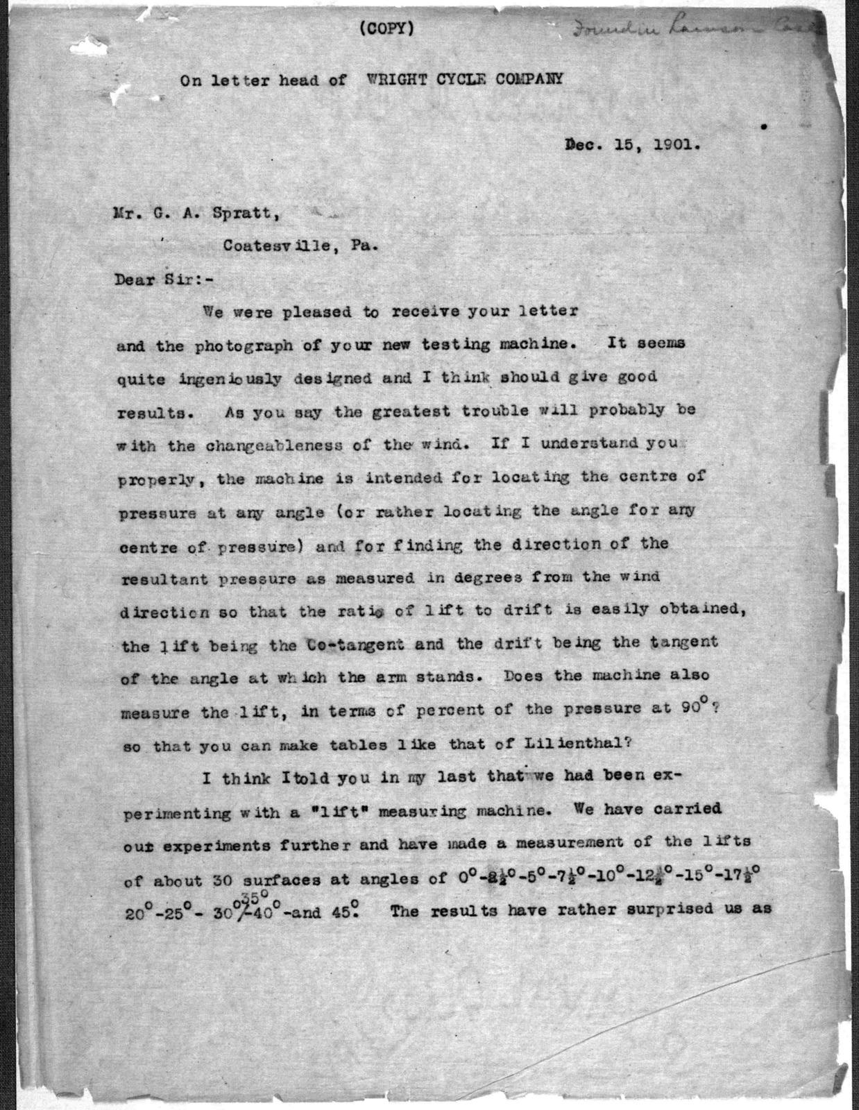 General Correspondence:  Spratt, George A., 1901