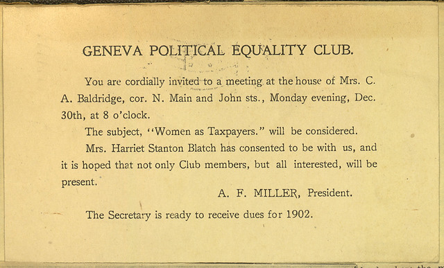 Geneva Political Equality Club meeting notice, home of Mrs. C. A. Baldridge
