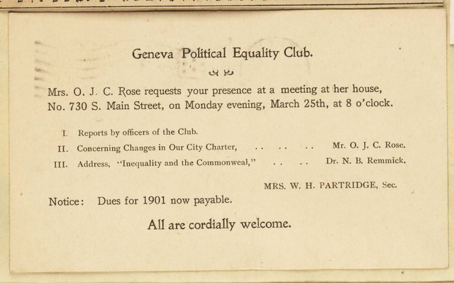 Geneva Political Equality Club meeting notice, home of Mrs. O.J.C. Rose