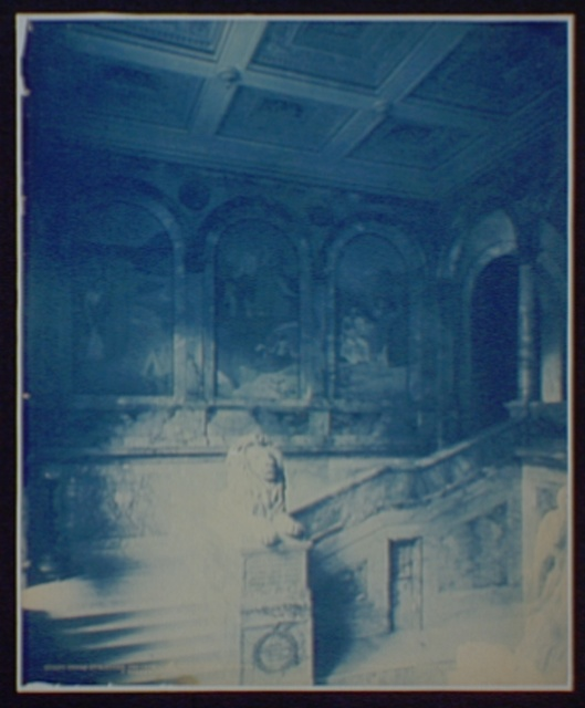 Grand Staircase and Chavanne's Panels, left section, Boston Library