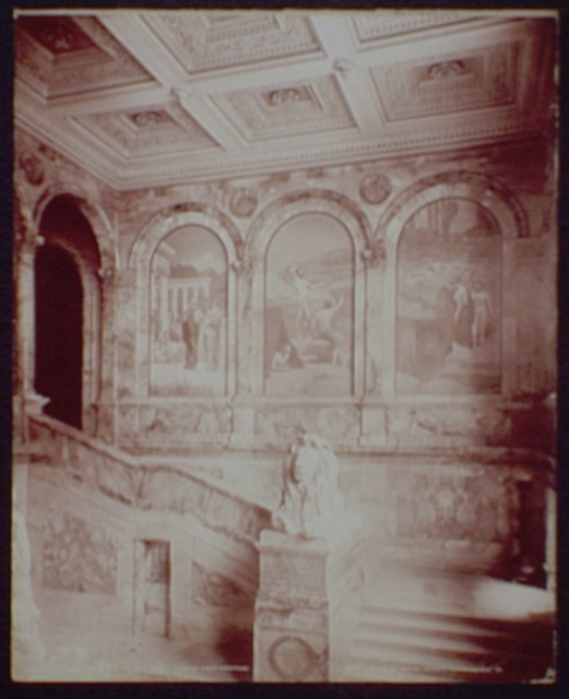 Grand Staircase and Chavanne's panels, right section, Boston Library