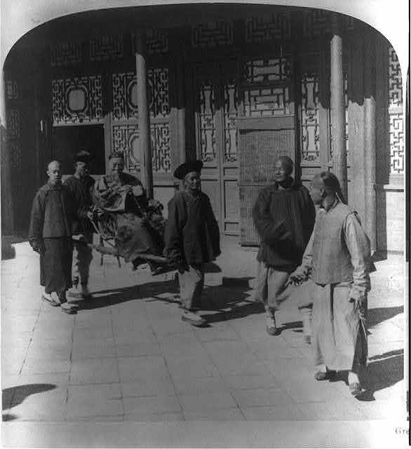 Greatest of China's statesmen - Li Hung Chang in the court of his yamen, Tientsin, China