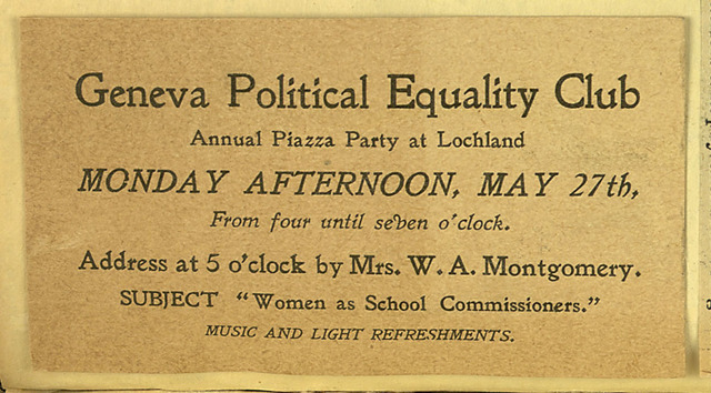 Invitation to the Geneva Political Equality Club Piazza Party