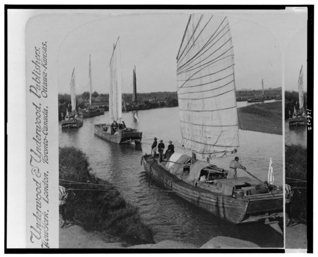 Junk flotilla on the Peiho River - transporting U.S. Army stores from Tientsin to Peking, China